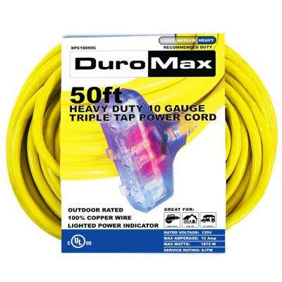 50 ft. 10/3 Gauge Triple Tap Heavy Duty Extension Power Cord