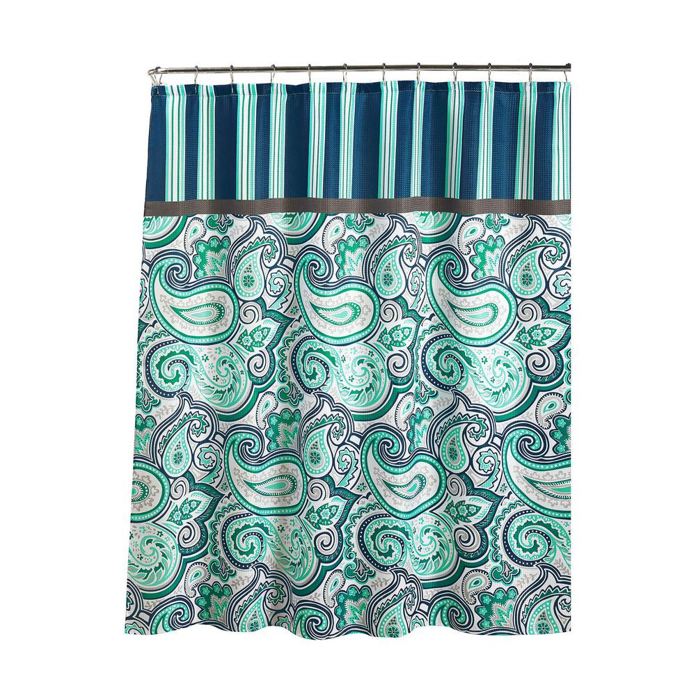 Diamond Weave Textured 70 In W X 72 L Shower Curtain With Metal Roller Rings Persephone Blue White