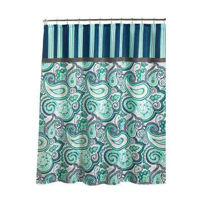 Diamond Weave Textured 70 in. W x 72 in. L Shower Curtain with Metal Roller Rings in Persephone Blue/White