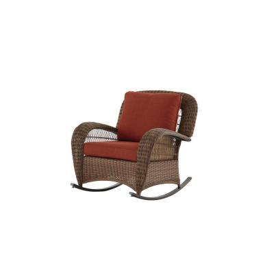 Beacon Park Brown Wicker Outdoor Patio Rocking Chair with Sunbrella Henna Red Cushions
