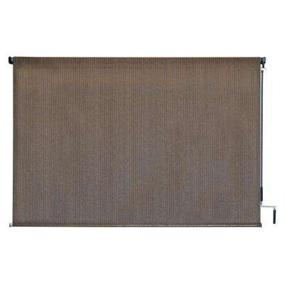 Driftwood HDPE Fabric Cordless Crank Operated Exterior Roller Shade - 96 in. W x 72 in. L