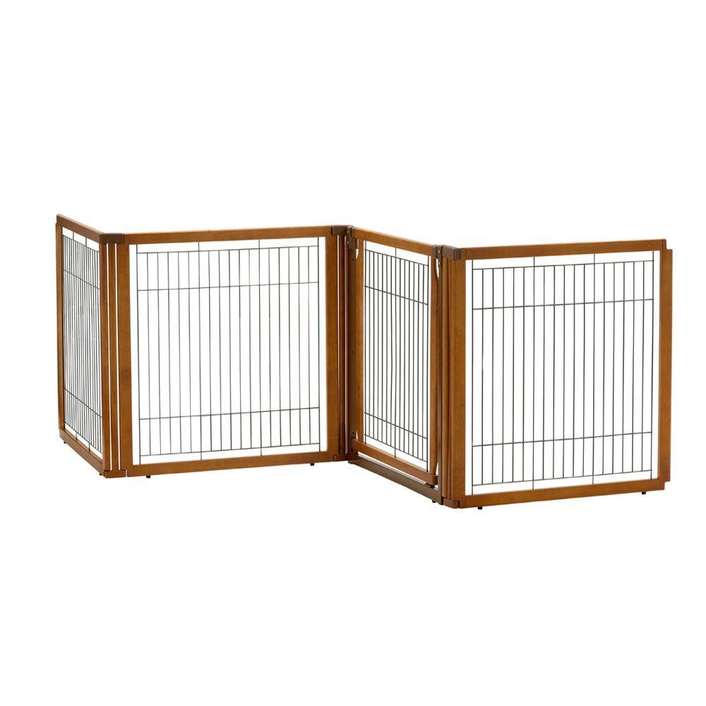 35.8 in. x 91.7 in. High 4-Panel Wood Convertible Elite Pet Gate in Brown