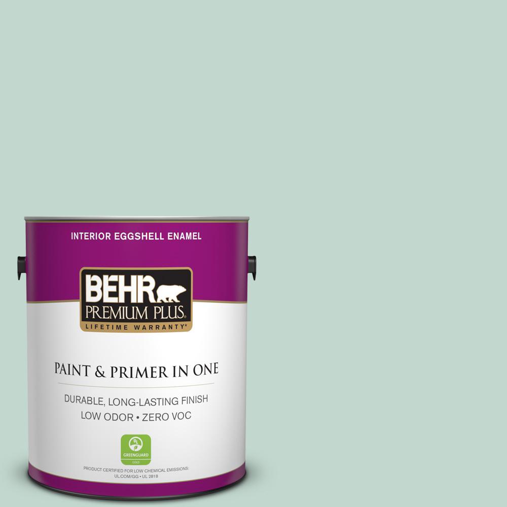 BEHR Premium Plus 1-gal. #470E-3 Aqua Smoke Zero VOC Eggshell Enamel Interior Paint