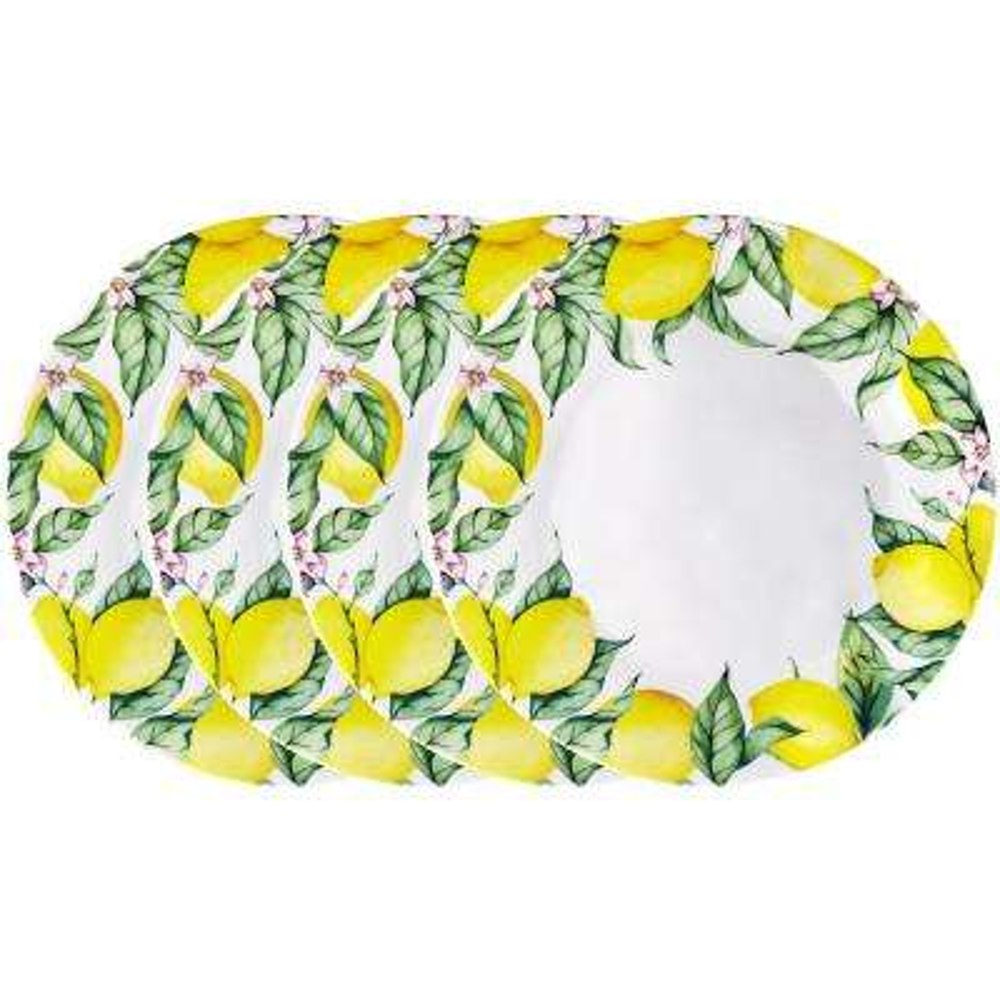 Limonata 4-Piece Yellow Melamine Dinner Plate Set