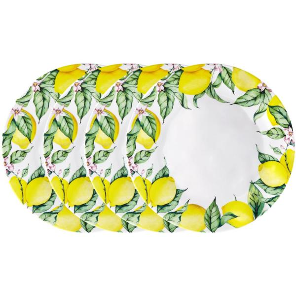 Q Squared Limonata 4-Piece Yellow Melamine Dinner Plate Set LIMON03