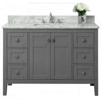 Maili 48 in. W x 22 in. D Vanity in Sapphire Gray with Marble Vanity Top in Carrera White with White Basin