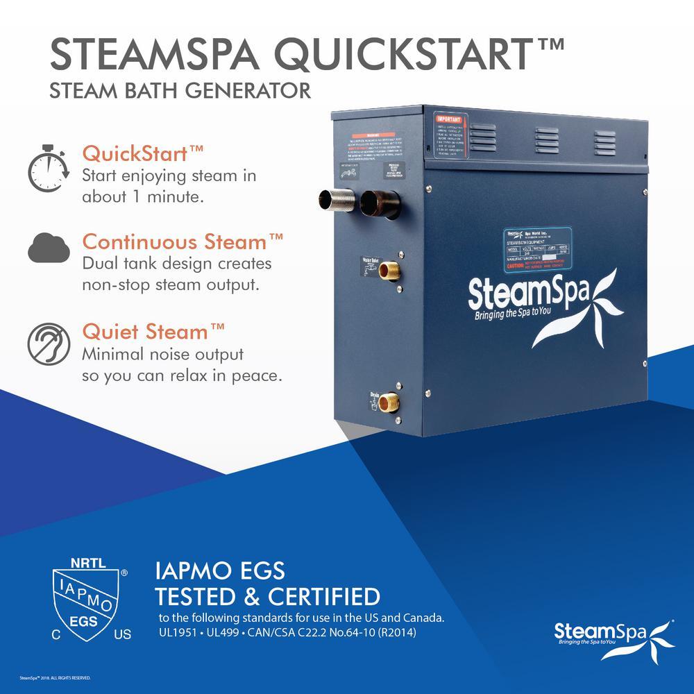 Steamspa 7 5kw Quickstart Steam Bath Generator With Built In Auto Drain D 750 A The Home Depot