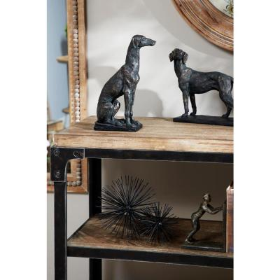 Textured Resin Black Greyhound Dog Statue with Gold Finish