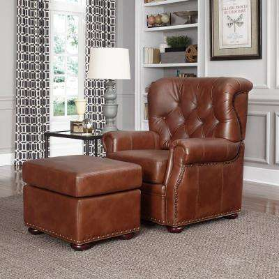 Miles Saddle Brown Faux Leather Arm Chair with Ottoman