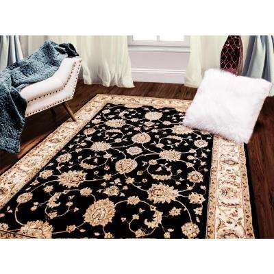 Bazaar Floral Heirloom Black/Ivory 5 ft. x 8 ft. Indoor Area Rug