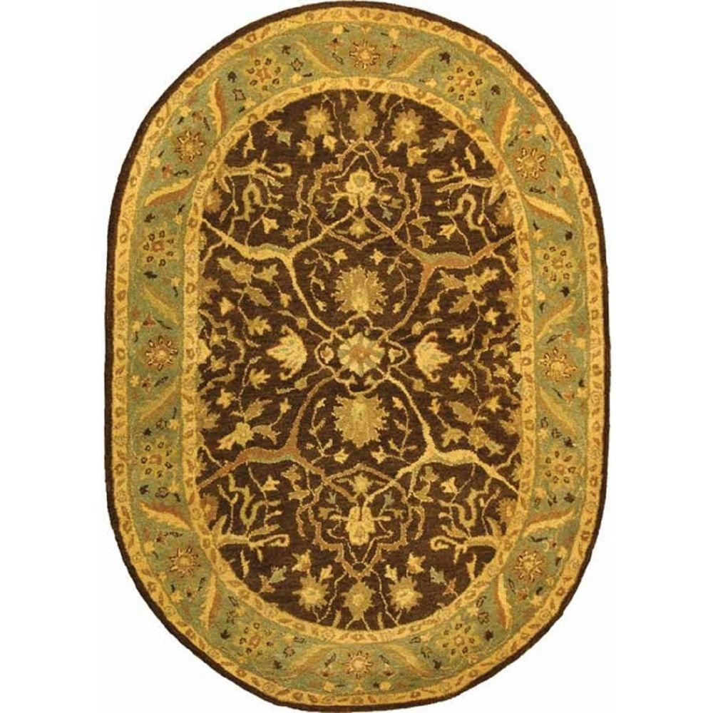 Safavieh Antiquity Brown Green 5 Ft X 7 Ft Oval Area Rug