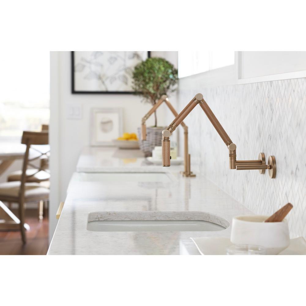 KOHLER Karbon Articulating Single-Handle Mid-Arc Standard Kitchen Faucet in  Vibrant Brushed Bronze