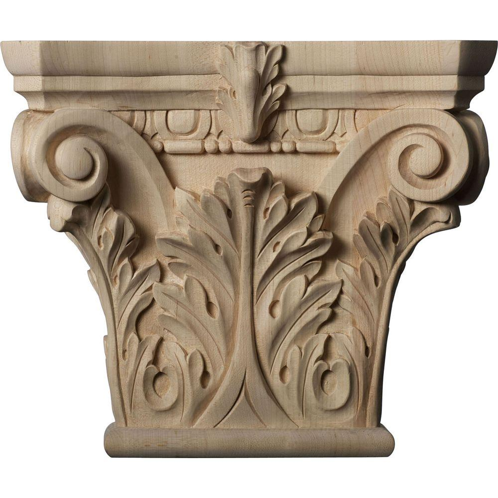 Ekena Millwork 3-3/4 in. x 11-1/2 in. x 9-5/8 in. Unfinished Wood Maple Large Floral Roman Corinthian Capital