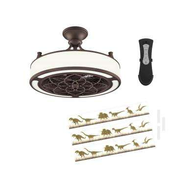 Anderson 22 in. LED Indoor/Outdoor Bronze Ceiling Fan with Remote Control and Dinosaur Insert Panel
