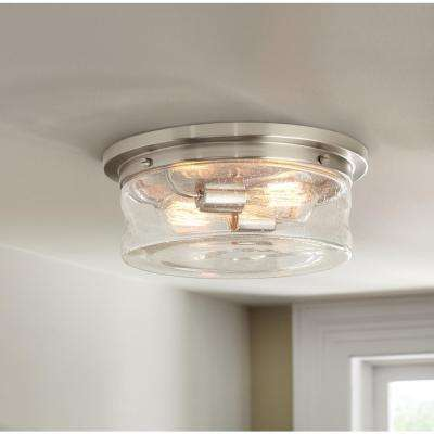 Silveroak 13 in. 2-Light Brushed Nickel Flush Mount with Clear Seedy Glass Shade