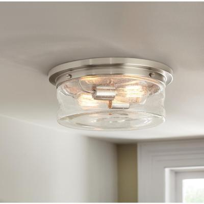 13 in. 2-Light Brushed Nickel Flush Mount with Clear Seedy Glass Shade