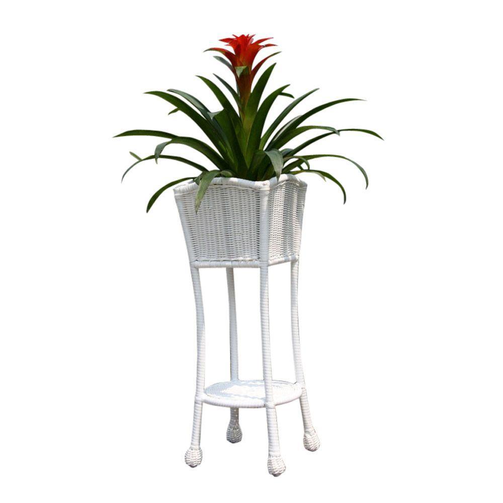Resin White Wicker Patio Furniture Planter Stand