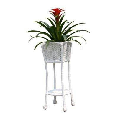 Resin White Wicker Patio Furniture Planter Stand