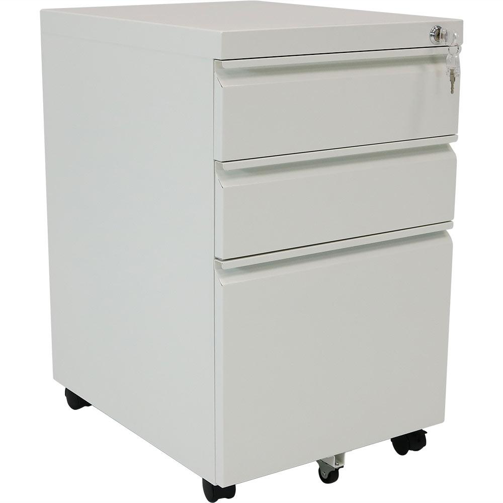 Rolling Steel 3 Drawer Wheeled Mobile File Cabinet With Lock