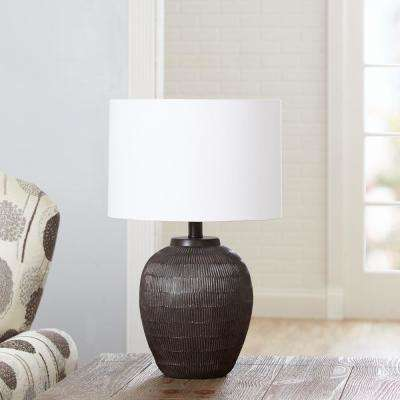 Argo Faux Bois Urn 18.5 in. Black Table Lamp with Shade