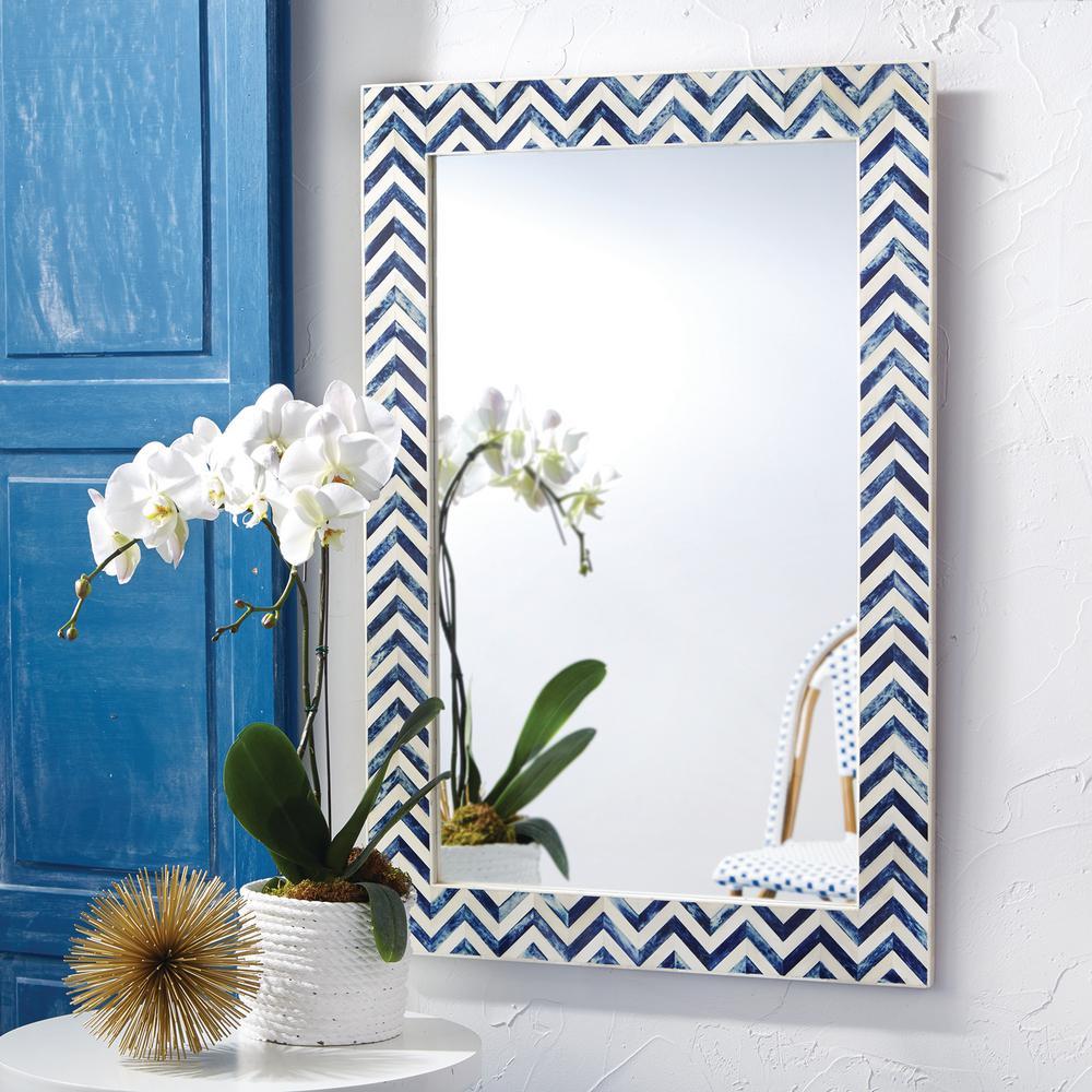 Rectangle Chevron Bone Decorative Wall Mirror