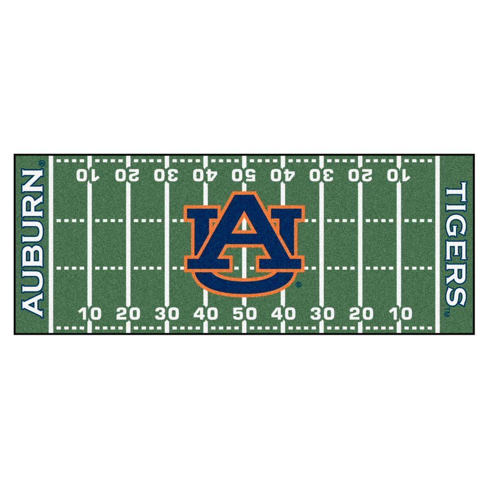NCAA Auburn University Green 3 ft. x 6 ft. Football Field Runner Rug