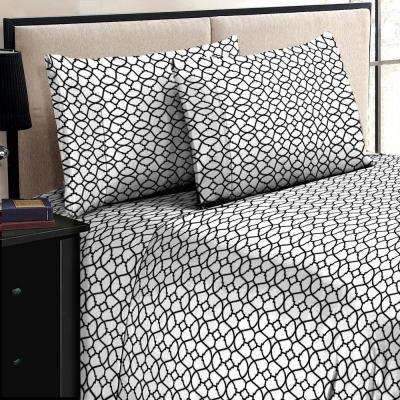 Jill Morgan Fashion Printed Geo Black-White Microfiber Twin Sheet Set (3-Piece)