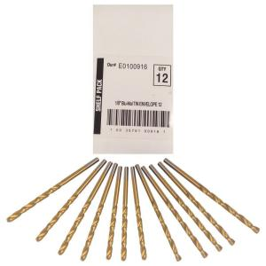 Click here to buy BLU-MOL 1/8 inch Diameter Titanium Jobber Drill Bit (12-Pack) by BLU-MOL.