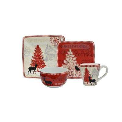 Northwood Cottage 16-Piece Red Dinnerware Set