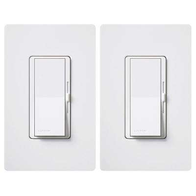 Diva C.L Dimmer for Dimmable LED, Halogen and Incandescent Bulbs, Single-Pole or 3-Way, White (2-Pack)