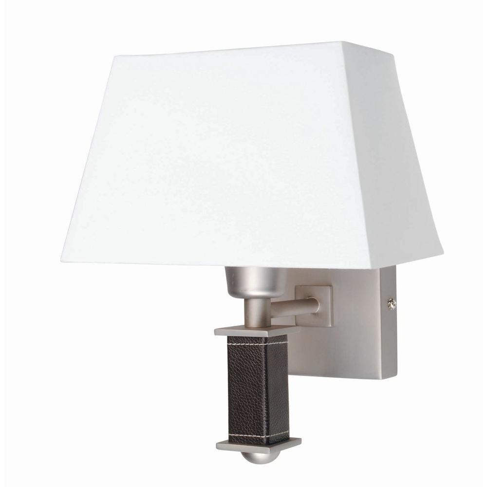 Illumine Designer Collection 1-Light Satin Steel Wall Sconce with White Fabric Shade