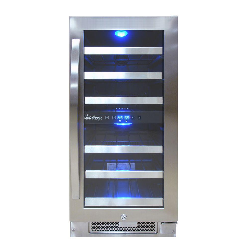 Vinotemp Connoisseur Series 28-Bottle Dual Zone Wine Cooler, Black/Stainless