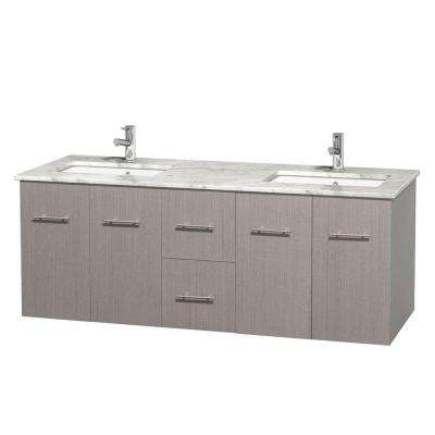 Centra 60 in. Double Vanity in Gray Oak with Marble Vanity Top in Carrara White and Under-Mount Sinks