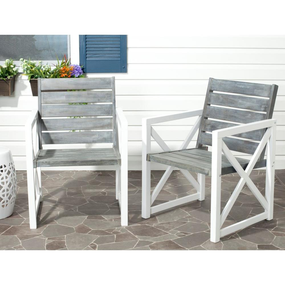 Charmant Safavieh Irina White/Ash Grey Acacia Wood Patio Armchair (2 Pack)