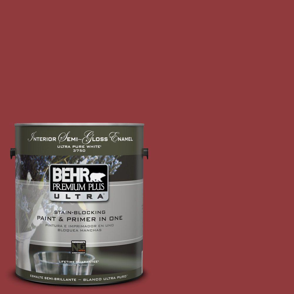 BEHR Premium Plus Ultra 1-gal. #UL110-18 Cherry Tart Interior Semi-Gloss Enamel Paint