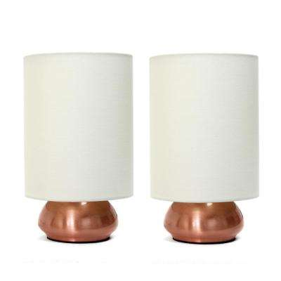 Gemini 9 in. Mini Touch Lamp with Fabric Shades (2 Pack)