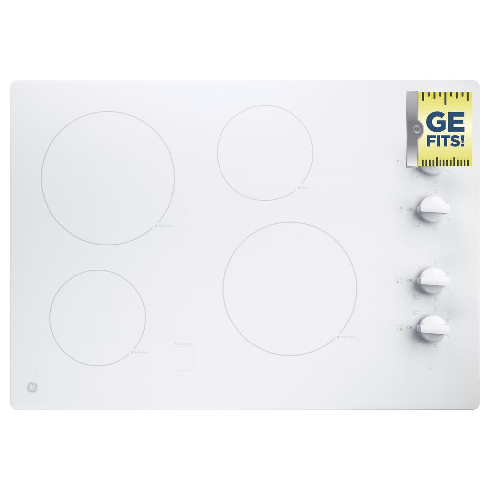 Radiant Electric Cooktop In White With 4 Elements Including 2 Boil