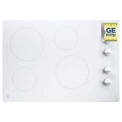 30 in. Radiant Electric Cooktop in White with 4 Elements including 2 Power Boil Elements