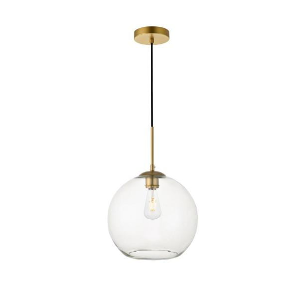 Timeless Home Blake 1-Light Brass Pendant with 11.8 in. W x 10.6 in. H Clear Glass Shade