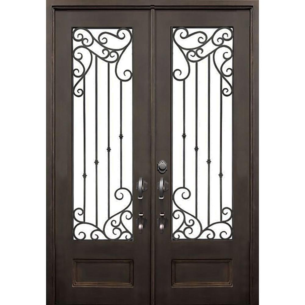 Allure iron doors windows 72 in x 96 in lakeland flat for Wrought iron front doors
