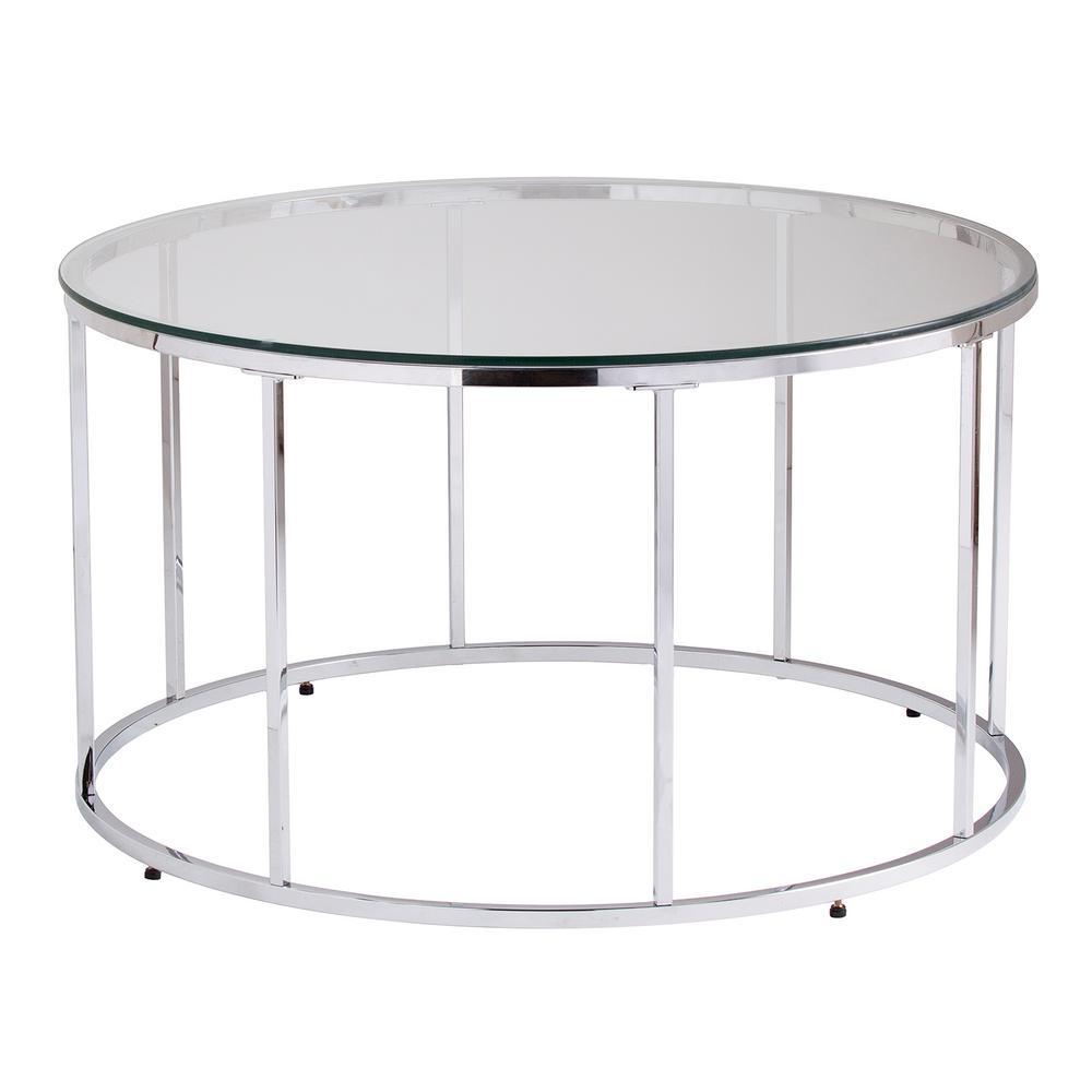 Southern Enterprises Selma Chrome Glass Top Round Cocktail Table HD524085