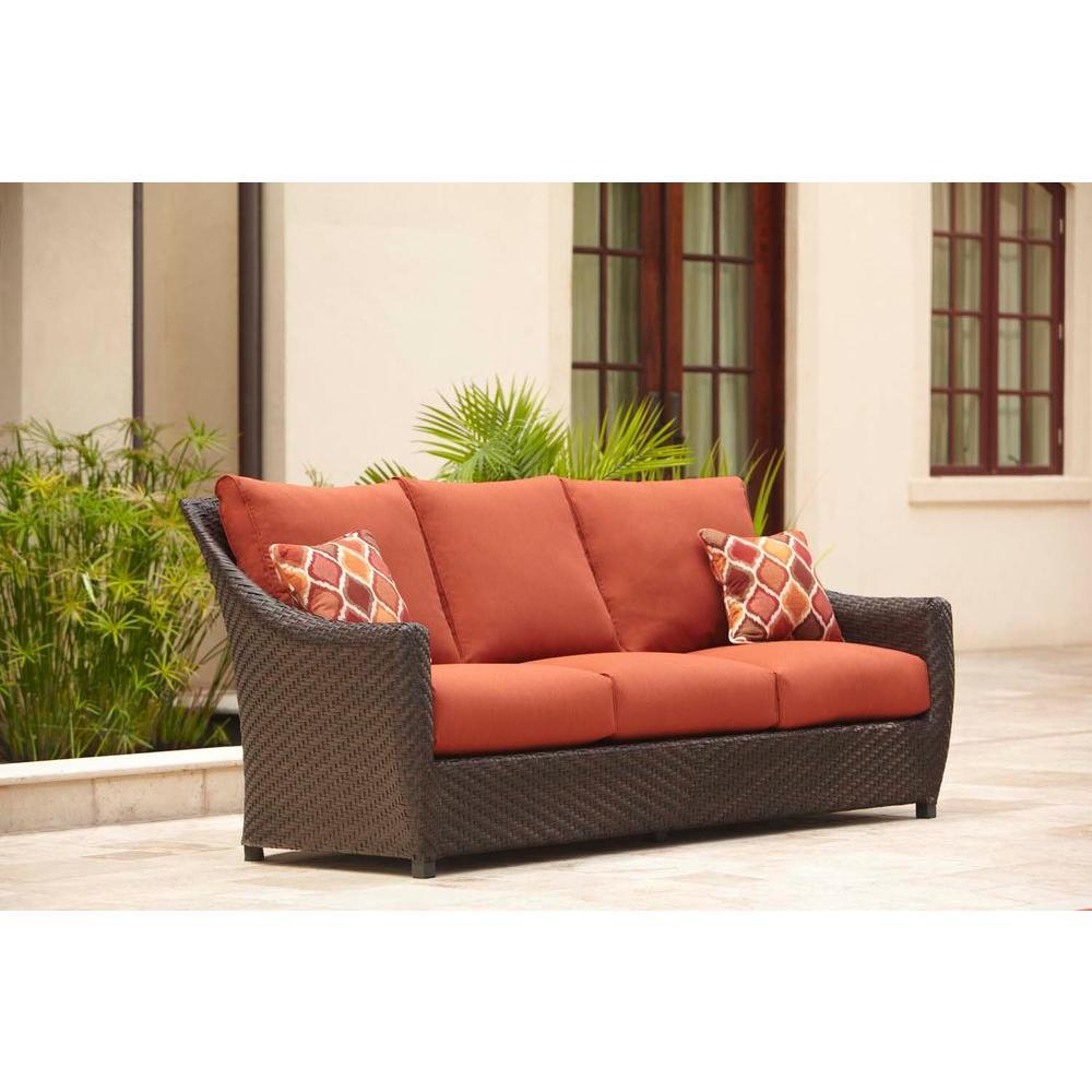 Brown Jordan Sofa Cinnabar Cushions Chili Throw Pillows Stock
