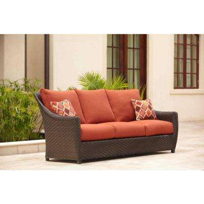 Highland Patio Sofa with Cinnabar Cushions and Empire Chili Throw Pillows -- STOCK