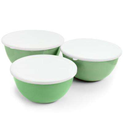Plaza Cafe 3-Piece Mint Mixing Bowl Set with Lids