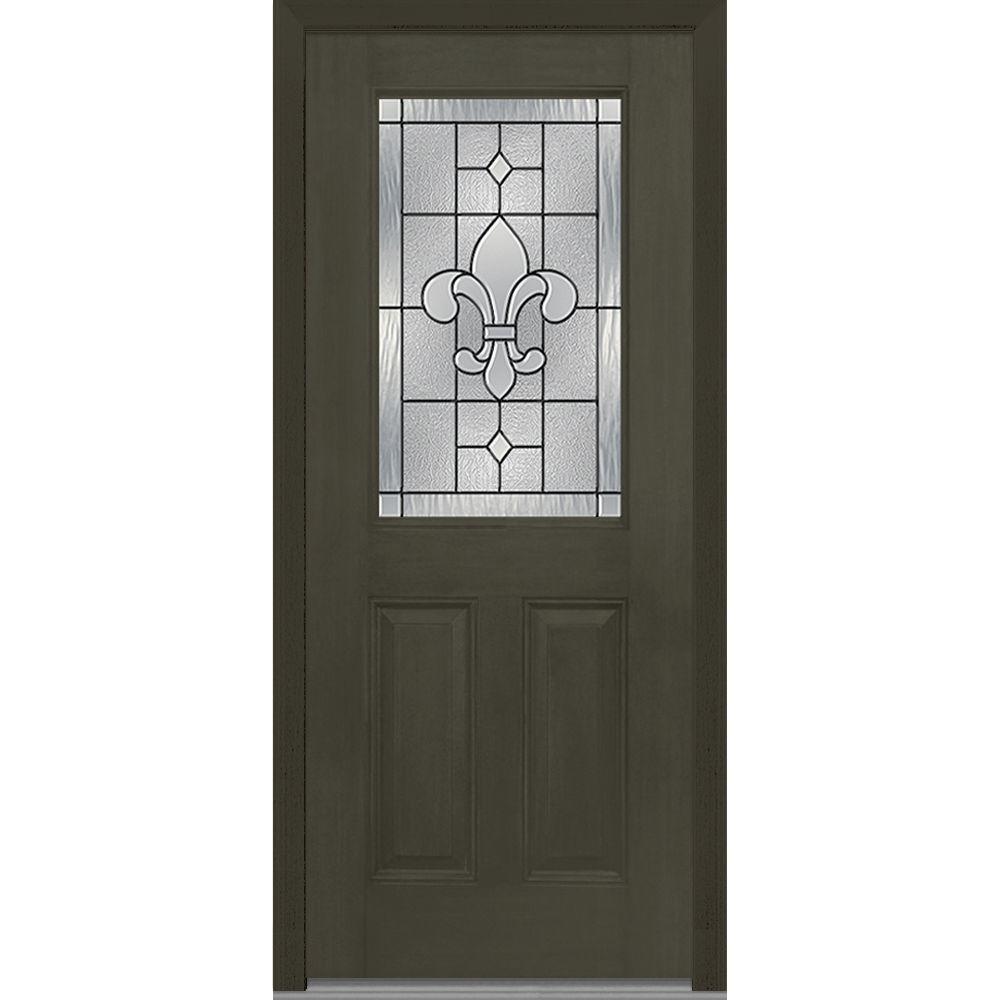 Mmi Door 33 5 In X In Carrollton Decorative Glass 1 2 Lite Mahogany Finished Fiberglass