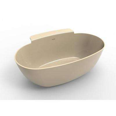 Guthrie 4.8 ft. Solid Surface Flat Bottom Freestanding Air Bath Bathtub in Almond