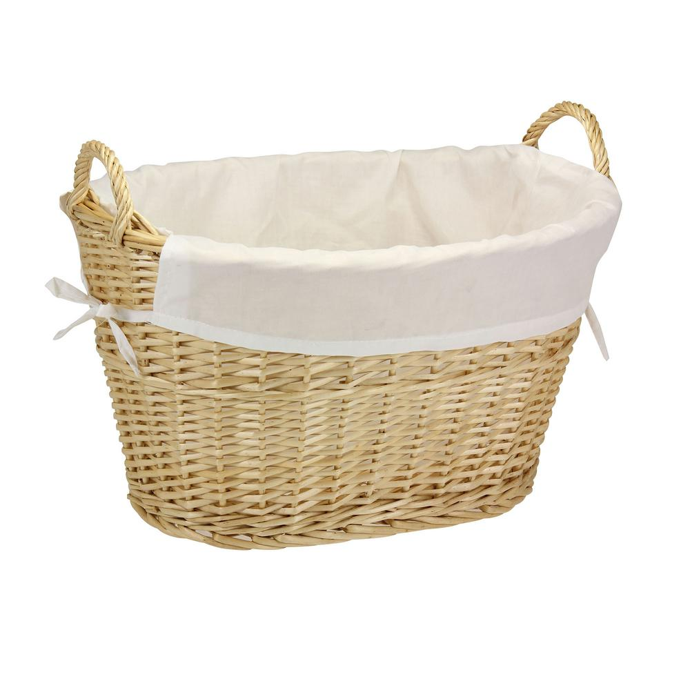 household essentials willow laundry basket with lining and handlesnatural - Wicker Laundry Basket