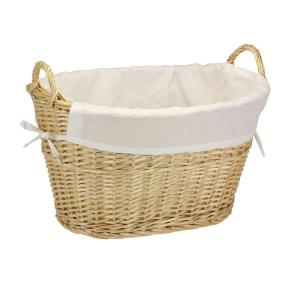 Household Essentials Willow Laundry Basket with Lining and Handles/Natural by Household Essentials