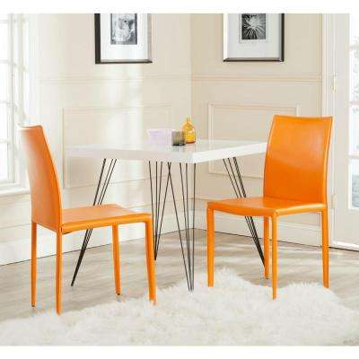 Karna Orange Bonded Leather Dining Chair Set Of 2