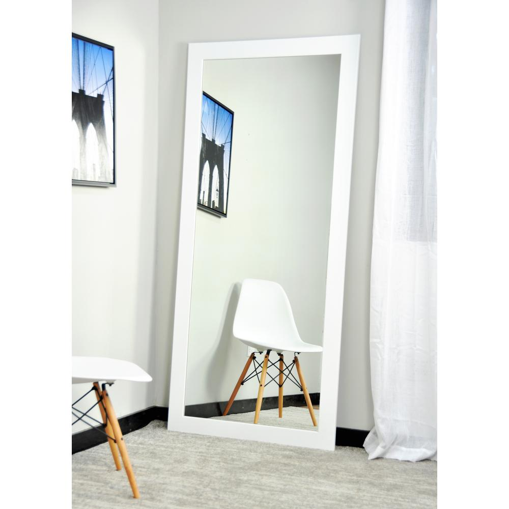 Modern matte white tall framed mirror bm003ts the home depot for Tall framed mirror